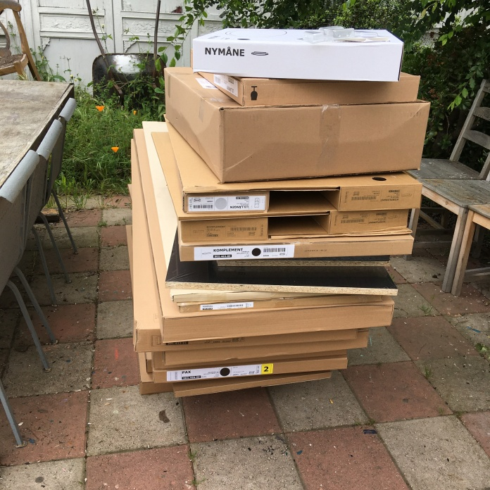 a stack of ikea boxes